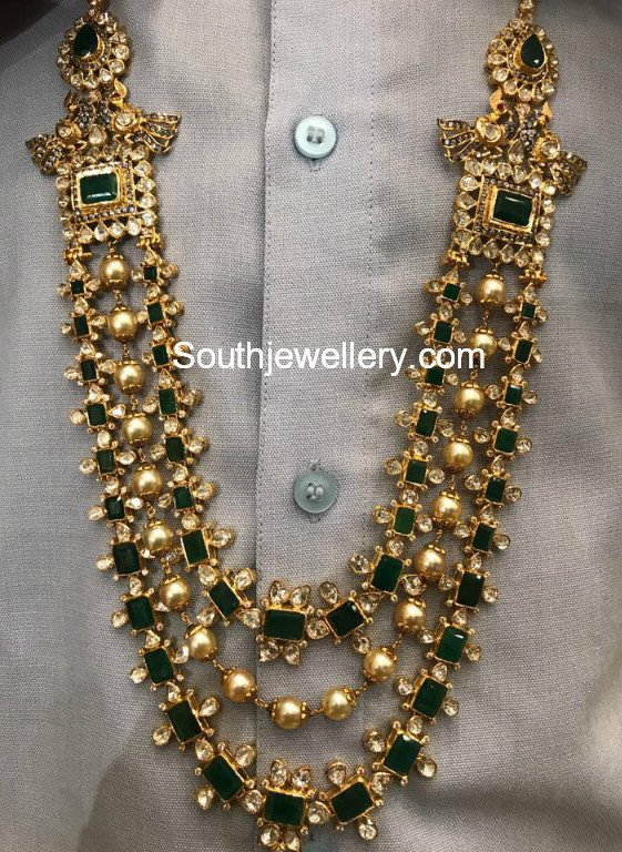 Emerald Polki Long Haram Jewellery Designs