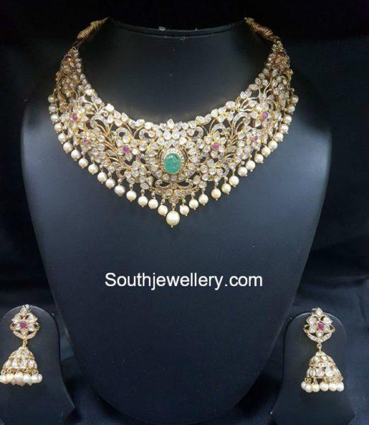 Flat Diamond Necklace and Jhumkas