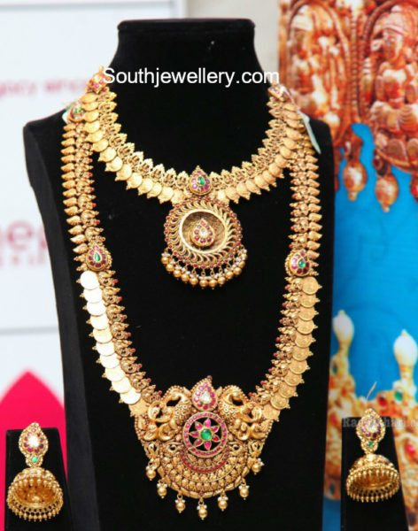 Latest Antique Gold Necklace Set by Manepally