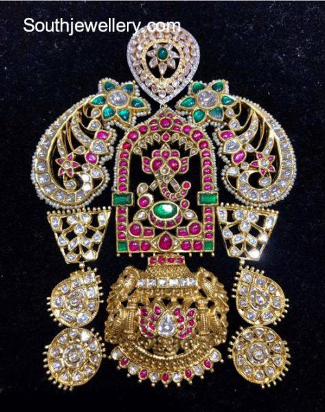 kundan ganesh pendant
