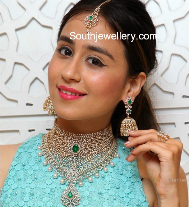 manepally diamond necklace and jhumkas