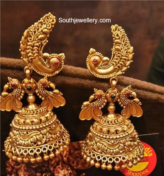 Antique Gold Peacock Jhumkis