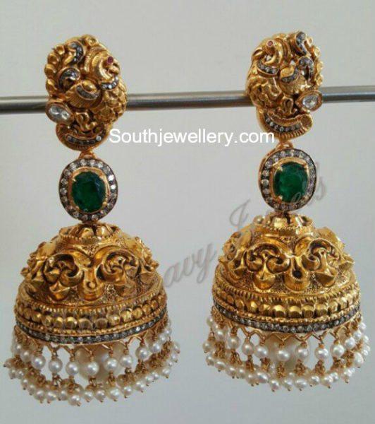 antique gold nakshi jhumklas