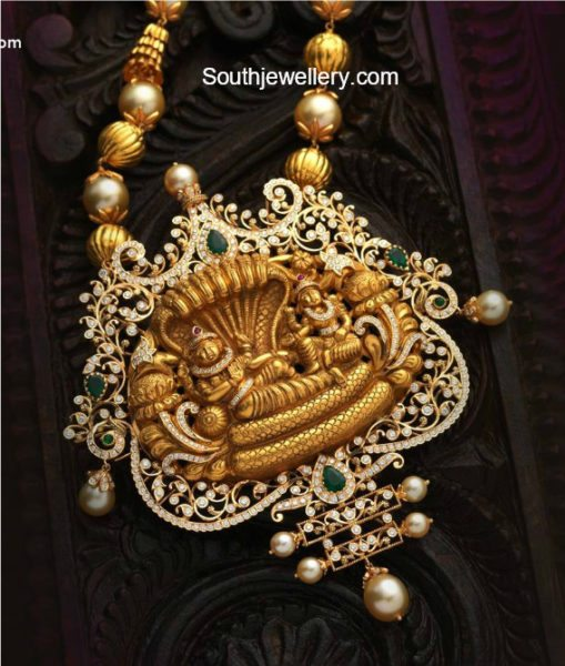 Pearl and Gold Balls Mala with Vishnu Pendant