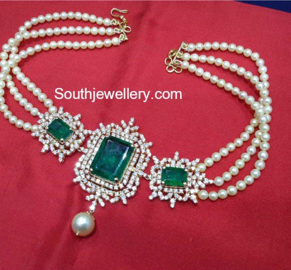 Pearl Choker with Diamond Emerald Pendant