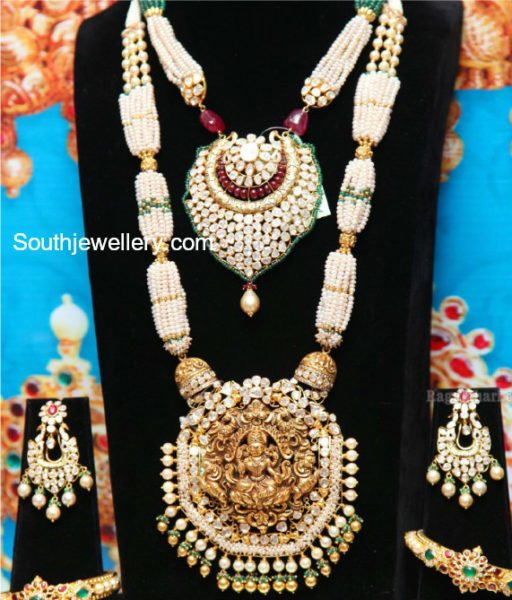 Pearl Necklace and Haram Set by Manepally