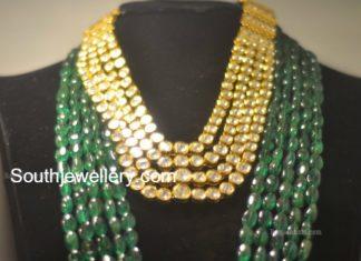 polki haram emerald beads mala