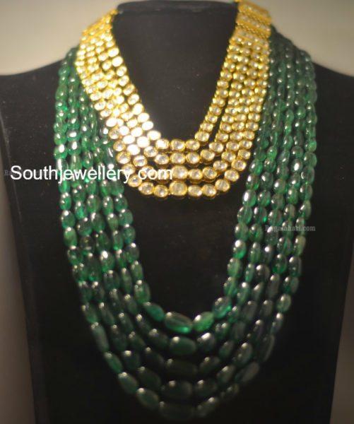 Polki Haram and Emerald Beads Mala