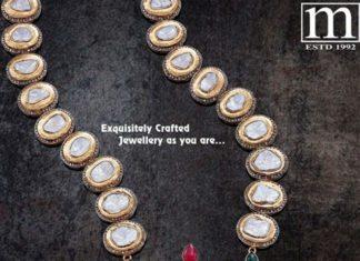 polki diamond encklace with nakshi pendant