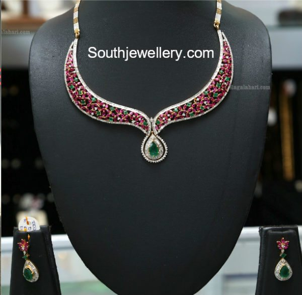 Simple Diamond Ruby Emerald Necklace Set