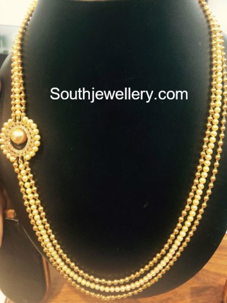 Gold Balls and South Sea Pearls Mala