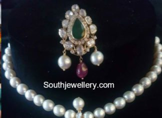 south sea pearls necklace with flat diamond pendant