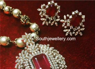 pearl necklace diamond ruby pendant