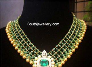 beads necklace diamond pendant
