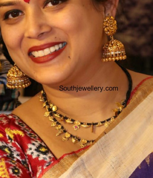 Black Beads Mangalsutra Chain and Antique Jhumkas