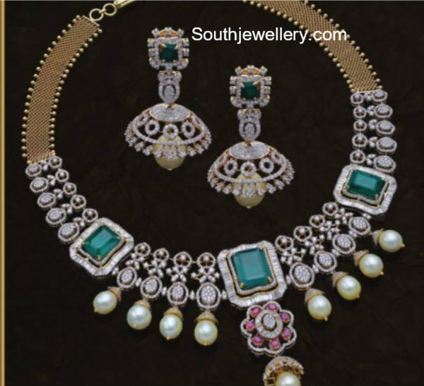 Diamond Emerald Necklace and Jhumkas