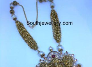 gold balls necklace lakshmi pendant