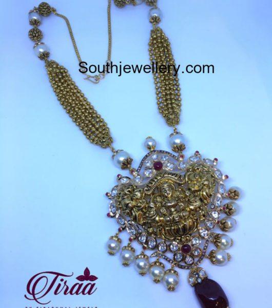 Gold Balls Necklace with Lakshmi Pendant