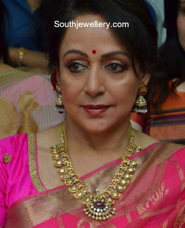 Hema Malini In Mango Mala And Jhumkas Jewellery Designs