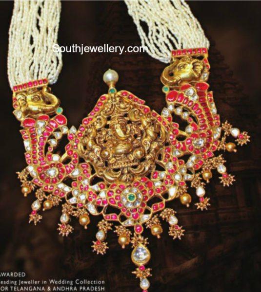 Pearls Mala with Kundan Ganesh Pendant
