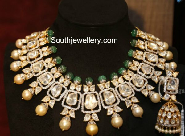 Polki Diamond Necklace and Jhumkis