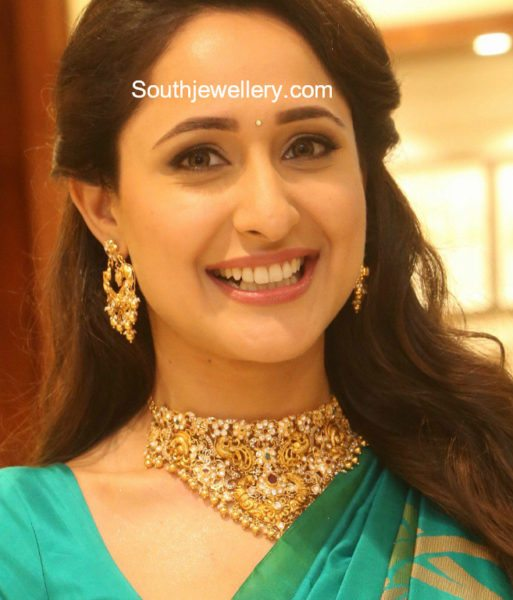 Pragya Jaiswal in a peacock necklace set