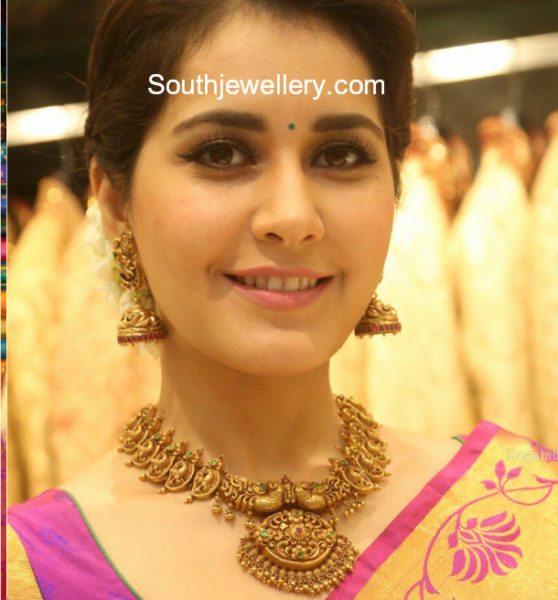 Raashi Khanna in Antique Gold Nakshi Jewellery