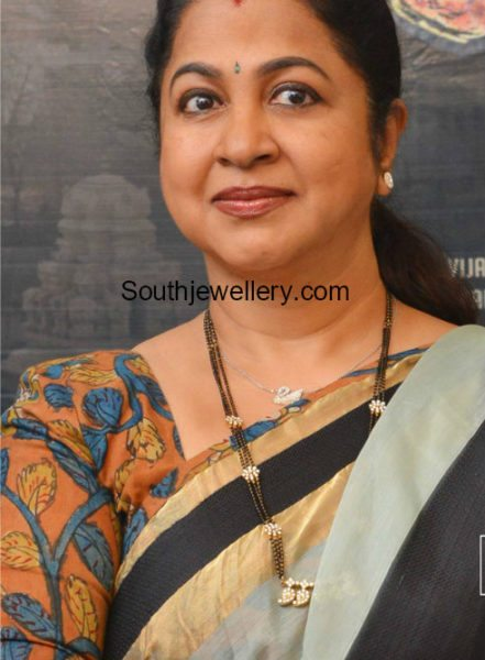 Radhika Saratkumar in a Long Black Beads Chain