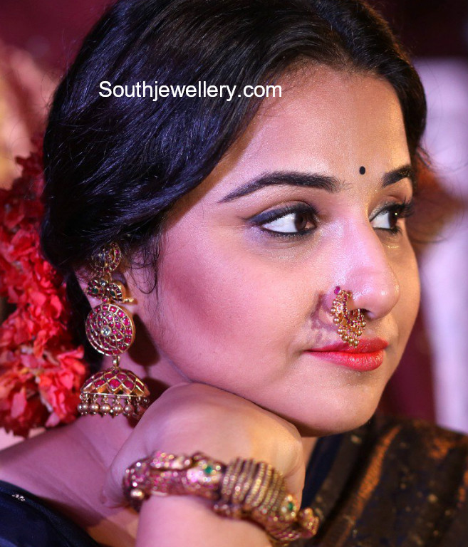Vidya Balan In Kundan Jhumkas Nose Ring And Kada