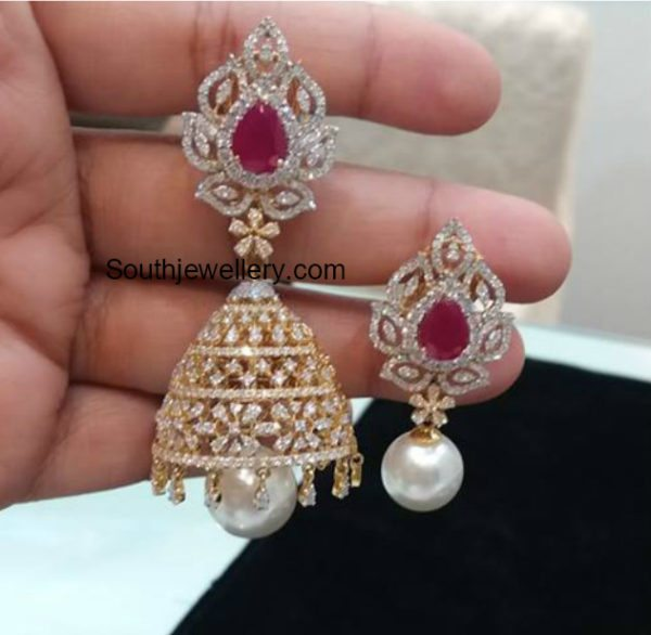 2 in 1 Diamond Choker plus Armlet and Convertible Jhumkis