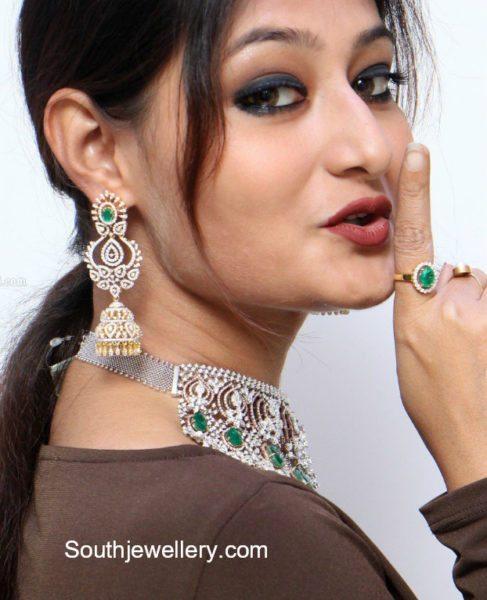 Diamond Emerald Choker and Jhumkas