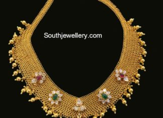 gold mesh links necklace light weight