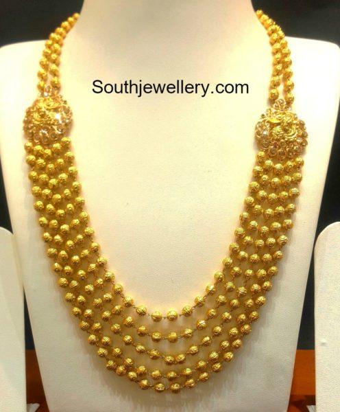 Nakshi Balls Mala With Uncut Side Pendants Jewellery Designs