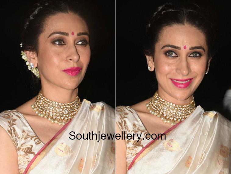 Karishma Kapooor In A Polki Diamond Choker Jewellery Designs