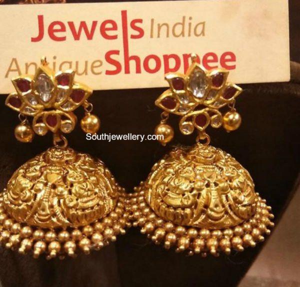 Antique Gold Nakshi Jhumkis