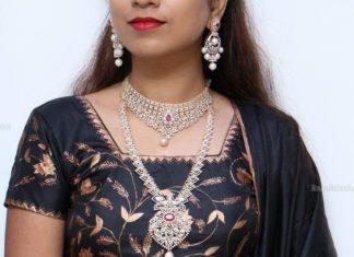 diamond necklace set by manepally