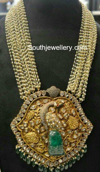 Multistring Pearls Mala with Peacock Polki pendant