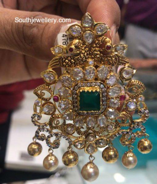 Antique Gold Peacock Pendant