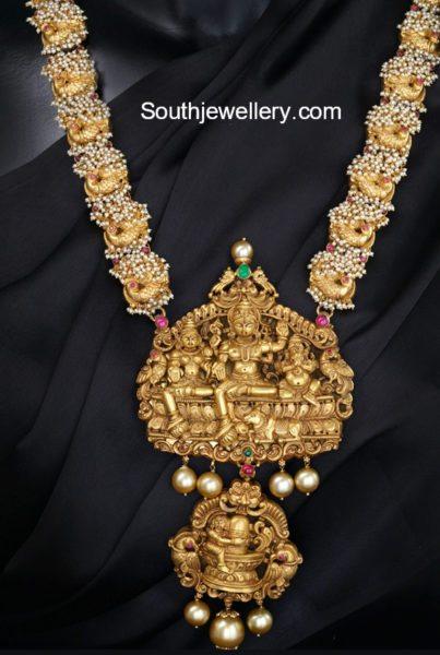 Peacock Guttapusalu Haram with Nakshi Pendant