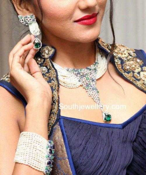 shalu chaurasia diamond pearl jewellery