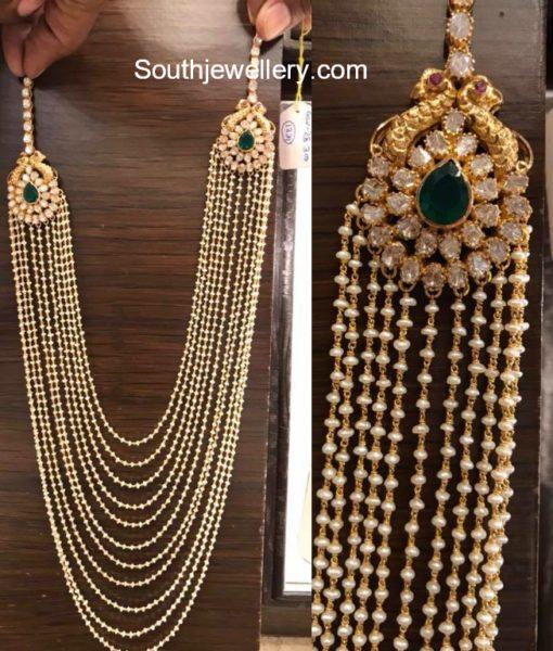 multistring pearls mala with polki diamond pendant