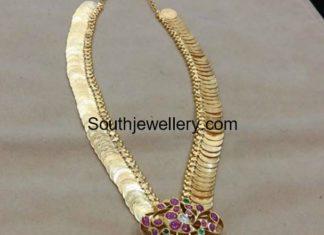 plain gold kasu mala with kundan pendant