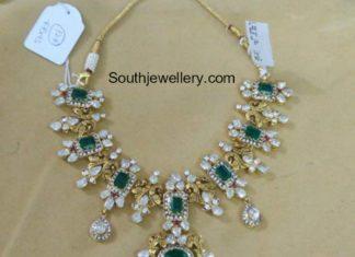emerald polki diamond necklace