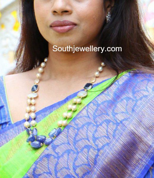 south sea pearls and sapphire beads mala