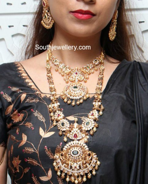 Antique Gold Nakshi Necklace and Haram Set