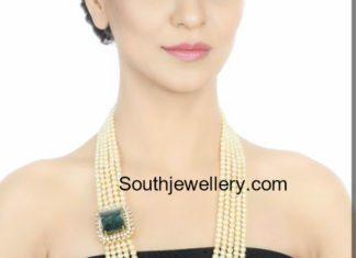 south sea pearl mala with emerald side pendant