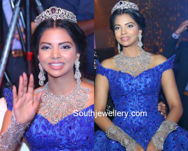 Hasini Boinapally in Diamond Jewellery at her Pre wedding Bash