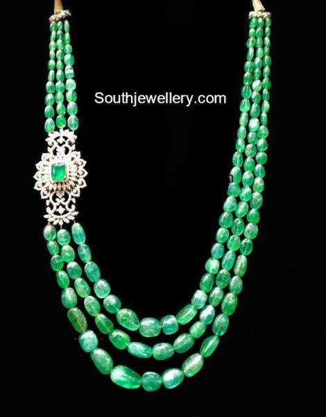 Emerald Beads Mala with Diamond Side Pendant