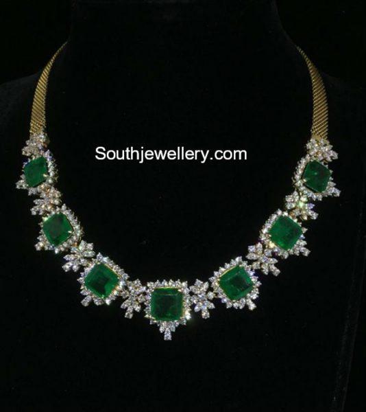 Diamond Emerald Necklace Jewellery Designs