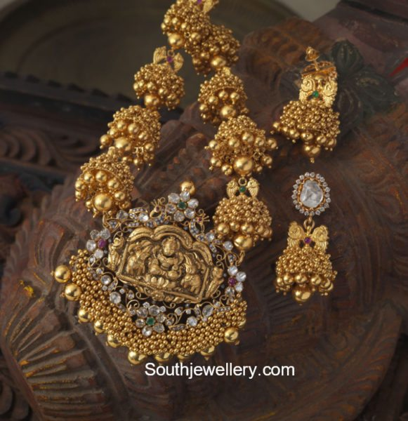 Jhumki Necklace with Lakshmi Pendant